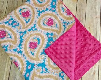 SALE 34x29 Paisley Minky Blanket, hot pink minky blanket, pink flower blanket, pink and blue minky blanket, pink paisley blanket
