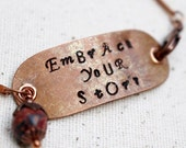 Inspirational Stamped Bracelet Beaded Jewelry Boho Rustic Brown Embrace Your Story Copper Metal