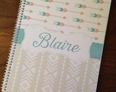 Spiral Notebook, Custom Notebook, Personalized Sketchbook, Personalized Notebook, Personalized Journal, Personalized Diary - Blaire
