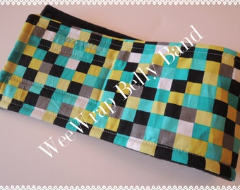 Dog Diaper Belly Band, Male Dog, Checked Out Fabric, Personalized, FAST Shipping