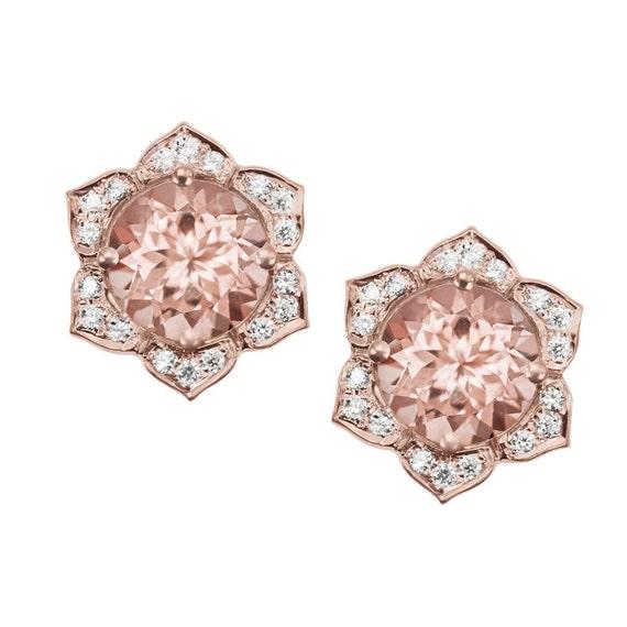 Morganite Earrings Flower Earring Studs Gold By