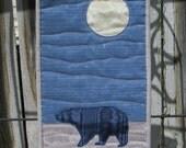 Winter Bear Quilted Landscape, Alaska night scene, Bear art quilt, Landscape wall hanging, mini quilt, moonlit bear