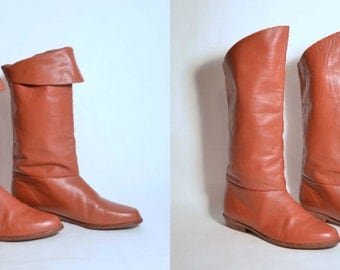 Vintage 80s Caramel Leather Minimalist Slouchy Boot/ Bohemian Pirate Hipster Gypsy/ Knee High Pull on Boots SZ 8