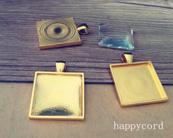 5pcs 25mm gold color square Pendant tray Base with glass