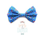 Blue Floral Bow Tie - Floral Hair Bow - Blue Floral Bow - Bradley - dainty and Dapper