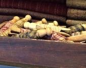Homespun Fabric Rag Wrapped Vintage Clothespins Set of 10 Primitive Style Bowl Filler Country Decor Basket Filler FAAP