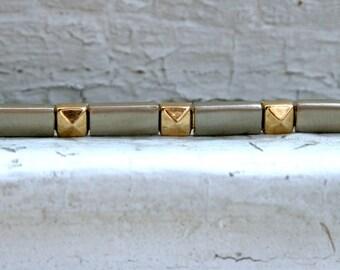 Neat Vintage 14K White/ Yellow Gold Bracelet, Solid.