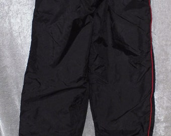Black Lined Wind Pants with Red Piping