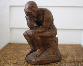 vintage bronze painted sculpture, The Thinker, nude sculpture, plaster sculpture