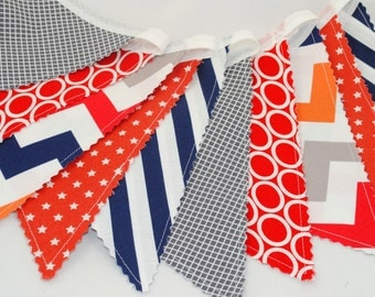 Bunting Banner - Birthday Party Decoration - Checks, Stripes, Ovals, Stars and Chevrons - Gray, Red, Navy and Orange