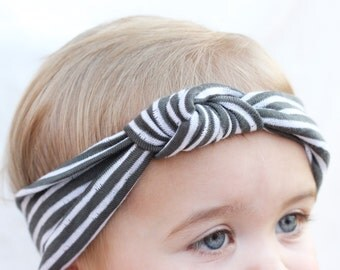Baby Knot Turban Headband, Charcoal Gray Striped Turban, Modern Hair Accessory, Popular Baby Headbands, White Baby Bow, Newborn Photo Props