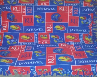 Kansas Jayhawks fleece tie blanket