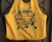 Small Superman / Supergirl / Superwoman Upcycled Tshirt Bag / Purse / Tote