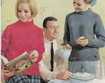 Vintage 1960s - Paton's Knitting Pattern No 727  For Women Featuring Jet 12 ply Tripleknit, Jumpers, Sweaters, Jackets.