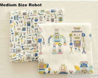 Cotton Linen Fabric For Craft, Little Girl, Medium Size Robot Pattern B,diy,fabric (QT547-B Medium Pattern)