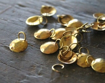 Maldonado Solid Brass Hammered Coin Charms - 12mm - Dapped Shiny Smooth with Soldered Ring (5)
