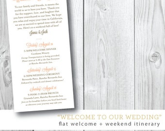 Wedding Weekend Program and Itinerary | Printed or Printable File by Darby Cards