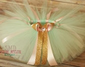 Mint Pink and Gold Tutu-Glittered gold and mint tutu-mint and gold