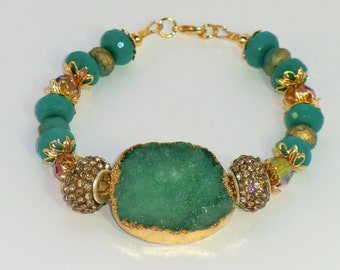 Teal green druzy agate in gold and jade bracelet, swarovski large hole pave crystal beaded bracelet, boho chic green and gold drusy bracelet