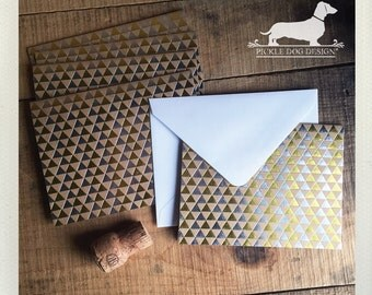 CLEARANCE! Foil Triangle. Note Cards (Set of 5) -- (Vintage-Style, Boho Chic, Rustic, Baby Shower, Modern, Thank You Card, Bridal Shower)