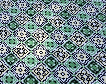 """Green/Yellow/Black beautiful print 4 way stretch rayon lycra fabric 58"""" wide sold by the yard"""
