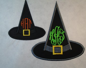 """Custom Halloween Monogrammed 5.5"""" tall Witch's Hat iron on or sew on applique patch"""