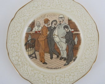 Vintage Plate with Singing Bar Patrons - Crown Ducal Florentine Harmony