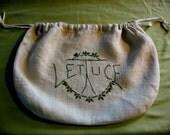 Lettuce Embroidered Bag Vintage Deco Kitchen Storage Drawstring Bag Embroidered on Linen Vintage Vegetable Storage Charming Kitchen Decor