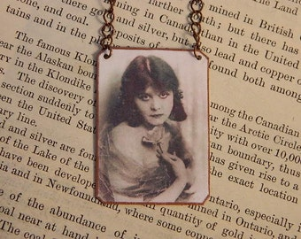 Silent Movie necklace Theda Bara mixed media jewelry Hollywood glamour