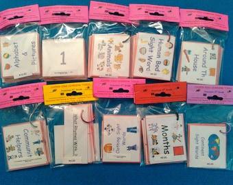 Preschool Learning Laminated Flash Cards Bundle of 10 Flashcards Sets for GIRL, Toddler/Preschool Education, Kids Educational Toy, PRESCHOOL