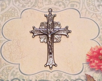 Sterling Silver Radiant Crown & Points Crucifix   Made in the USA