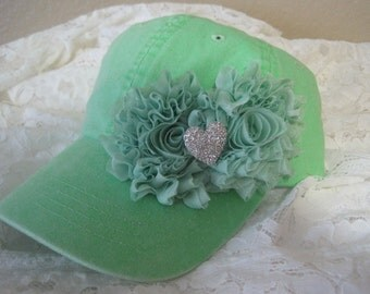 Youth Toddler Mint Green Baseball Cap with Mint Chiffon Flowers and a Rhinestone Heart Accent