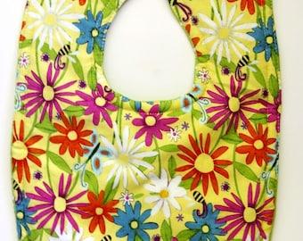 Baby Girl Bib - Floral Bib -  Flower Bib - Gender Neutral Bib - New Baby Gifts - Drool Bibs - Polka Dot Bibs - Toddler Bibs for Girls