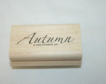 Autumn Rubber Stamp,rubber stamp,stampin up retired,stampin up,stampin stamps,stamp block,scrapbook stamps,scrapbooking stamp,wood stamp