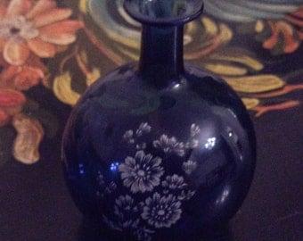 Cobalt Blue Glass, Miniature Vase, Mary Kelly Style, Vintage Art Deco Glass WINTER SALE