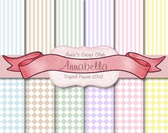 Digital Paper Pack - Pastel Stripes & Squares