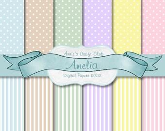 Digital Paper Pack - Pastel Dots & Stripes