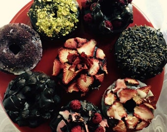 Vegan Gluten free chocolate  doughnuts with strawberries, raspberries, coconut 6 pieces ,Love and Compassion,Birthday,