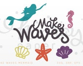 Mermaid SVG Cutting Files, DXF Cutting File, Starfish, Shell, Seahorse