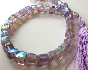 Pink Amethyst A/B Faceted Cube Beads - 1/2 Strand