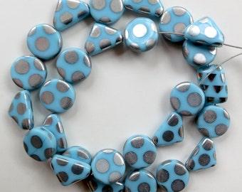 "Czech Pressed Glass Baby Blue/Silver Dot Beads - 11"" Strand - 27 Beads"