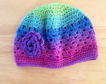 Purple Blue and Green 3-6 Months Baby Girl Crochet Hat