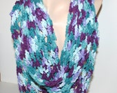 SALE Women's Cotton Infinity Scarf Cowl Ex Long Light Airy & Lacy Boho Southwestern Scarves Handmade Accessory by CzechBeaderyShop