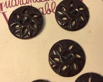 vintage Brown Plastic Carded Buttons Set of Five