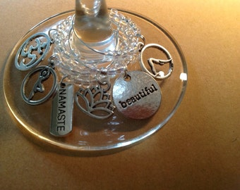 YOGA Wine Charms - clear beads with gift box