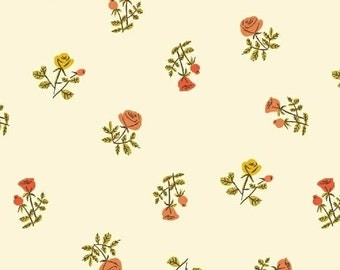 Tiger Lily by Heather Ross for Windham Fabrics - Scattered Floral - Cream - Fat Quarter - FQ - Cotton Quilt Fabric 516