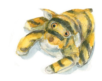 Watercolor Tiger, Stuffed Tiger Print, Toy Tiger Print
