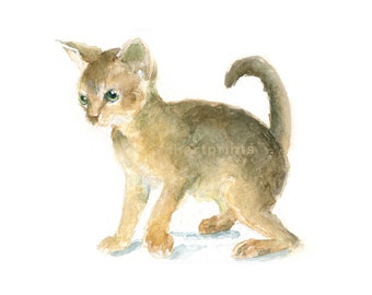 Watercolor Kitten, Kitten Print, Cat Print