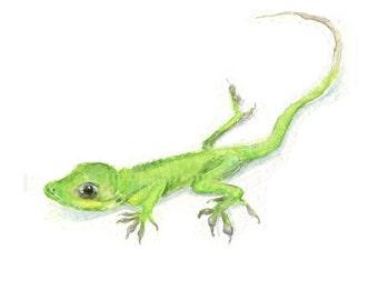 Watercolor Gecko, Gecko Print, Green Gecko Print, Green Lizard Print, Anole Print