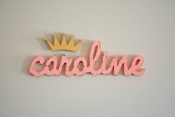Wooden Name Sign, Crown, Princess, Prince, Nursery Name, Baby
